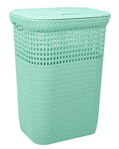 Wäschekorb Wäschepuff Wäschetruhe Rattan 60 Liter (mint)