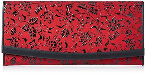 [インデンヤ] 長財布 束入れT 赤地鹿革×黒漆花唐草柄 2311-03-041
