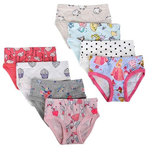 Kidear Unterwäsche für Kinder, weiche Baumwolle, verschiedene Muster für Mädchen, 8 Stück Gr. 2-3 Jahre , Stil 5