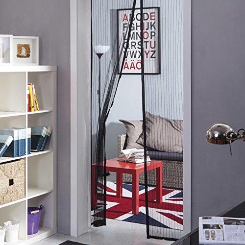 VERDELOOK klamboe voor deuren van polyester, met magneet aan de rand voor eenvoudig sluiten, afmetingen: 120 x 240 cm, zwart
