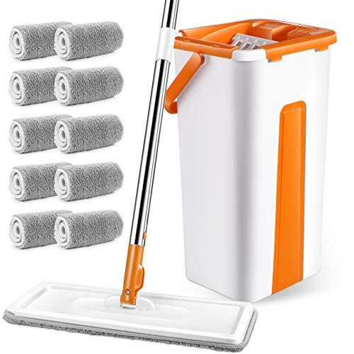 MASTERTOP Juego de fregona con cubo, mopa plana con 10 paños de microfibra, juego de mopa para cocina, salón, dormitorio