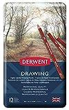 Derwent Drawing - Lápices de dibujo (12 colores de madera, en estuche de metal)