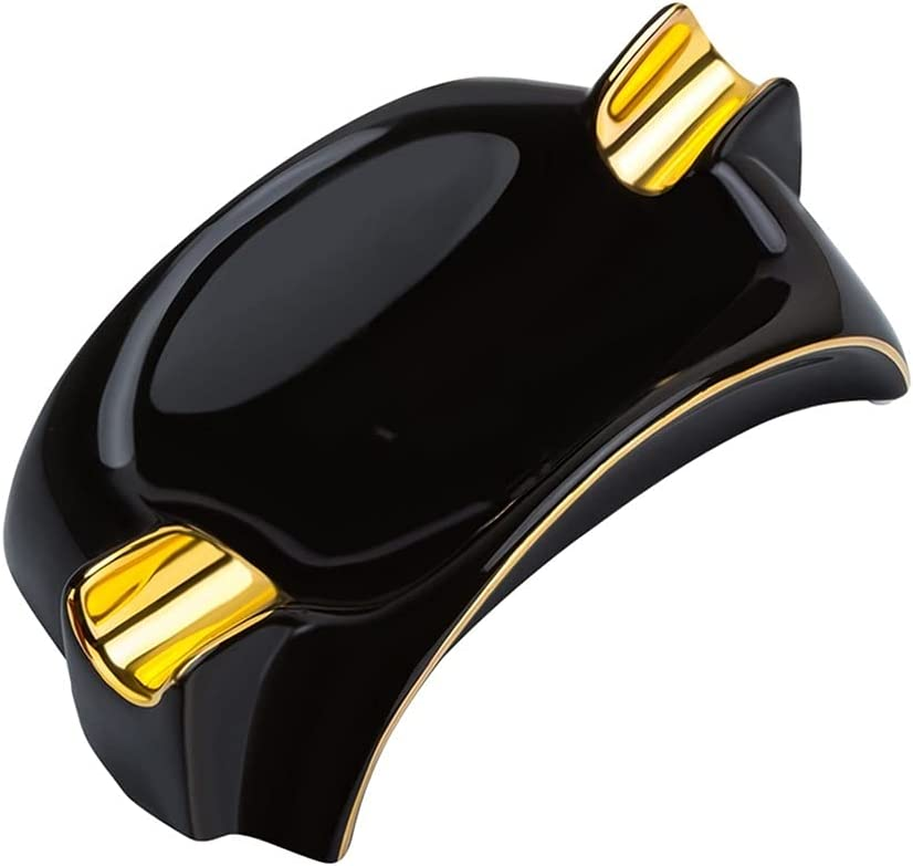 XKAOL Ashtray trend rank Excellent Black Ceramic Holder and Personality Fashi