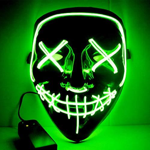 BFMBCHDJ Halloween neon led maske party kostüm purge maske wahl cosplay kostüm führt dj party im dunkeln leuchten a22 one size