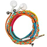 URIZONS Earbuds, Earphones Headphones with Microphone Remote, in-Ear Sports Headset for iPhone iPad iPod Mac Laptop Tablets Android Smartphones Handmade Fabric Braided Tribe Thread Wrapped Bracelet