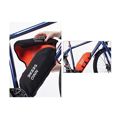 BikersOwn Unisex– Erwachsene 2in1 Rahmeschutz Rahmen Akkuschutz Plus Rahmenschutz Bosch Ebike Universal Wendeakkuschutz, schwarz-Orange, Einheitsgröße