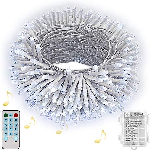Hezbjiti Luces de cuerda de batería, 100 luces de cadena de hadas activadas por sonido de, con remoto, temporizador, luces a batería a prueba de agua Sincronización con música para fiestas, blanco