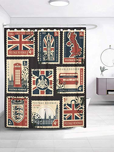 SPXUBZ Postage Stamps with British Flag UK Map Parliament London Big Ben Coats Arms England and Great Britain Shower Curtain Waterproof Bathroom Decor Polyester Fabric Curtain Sets with Hooks
