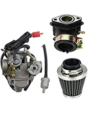 GOOFIT PD24J Carburadore Moto 24mm con Filtro de Aire 42mm con Admision Aire Tubo Pit Bike 125cc para GY6 150cc ATV Quad Chino Motor 157QMJ Scooter Go Kart Ciclomotor