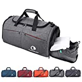 CANWAY Sports Gym Bag, Travel Duffel Bag with Wet Pocket & Shoes Compartment