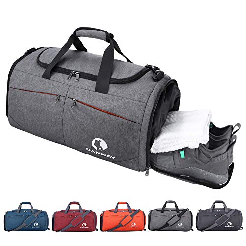 CANWAY Sports Gym Bag, Travel Duffel Bag with Wet Pocket & Shoes Compartment for Men Women, 45L, Lightweight (Grey)