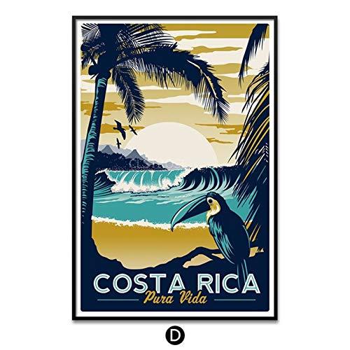 SnneiHome Leinwanddruck Moderne Minimalistische Costa Rica Stadt Landschaft Vintage Pop Art Poster Bild Und Drucke Auf Leinwand Wandkunst Bild Für Wohnzimmer Wohnkultur, 70X100Cm No Frame