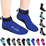 Water Socks Neoprene Socks Beach Booties Shoes 3mm Glued Blind Stitched Anti-Slip Wetsuit Boots Fin Swim Socks for Water Sports Outdoor Activities (3mm Low Cut/Dark Blue, S(Men 6-7,Women 6-8)