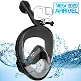 Avoalre Full Face Snorkel Mask Advanced Safety Breathing System Portable 180° Panoramic View Snorkeling Mask with Camera Mount,Safe Breathing,Anti-Leak&Anti-Fog Snorkel Mask for Adult S/M (Black)