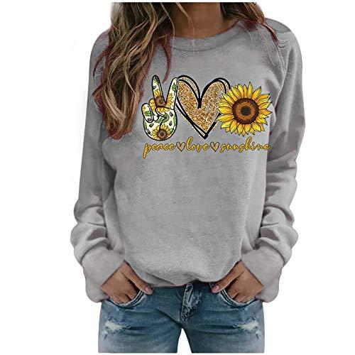 Moneycom Otoño Invierno Mujer Casual Tops Señoras Impresión Sudadera Blusa Camiseta Suéter