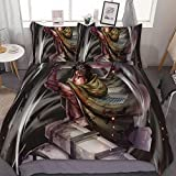 TIANAIS Juego de ropa de cama de 3 (1 funda y 2 fundas de almohada sin sábana) Attack on Titan 186 Navidad edredón individual