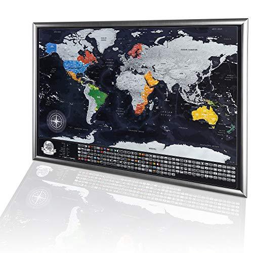 Mappa del Mondo da Grattare con Cornice 86x60cm, Regalo Originale per la Famiglia, Grande Mappa da Viaggio da Grattare, Avventure Personali, Mappa Personalizzata, Cornice d'argento