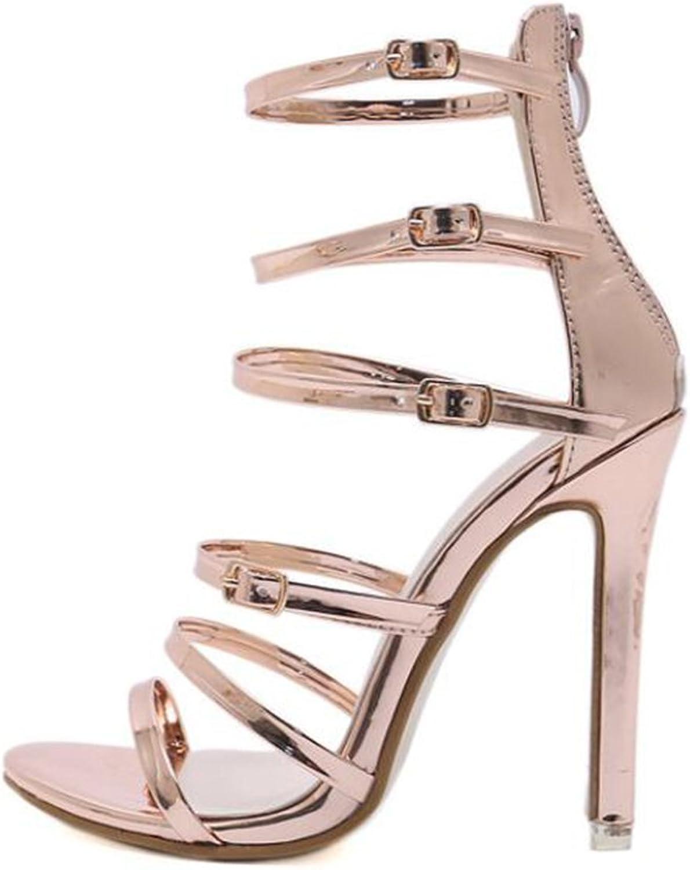 Summer Buckled High Heel Straps Zipper Roman Women's Sandals,gold,35