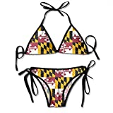 Nonebrand Maryland Flag Padded Push Up Bikini Set Two Piece Swimsuit Beach Bathing Suits for Women Girls Sexy