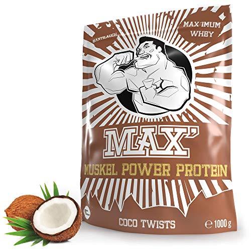 Eiweißpulver für Muskelaufbau | Whey-Protein Pulver & Abnehmen | Proteinpulver Whey | Eiweiß-Shake für Muskelaufbau und Fitness | Eiweiß Shake von MAX MUSKEL POWER PROTEIN (Kokos 1kg)