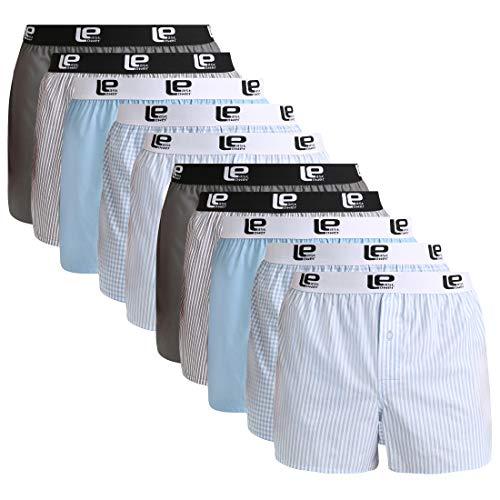 Lower East American Style Boxershorts, Mehrfarbig Hellblau/Grau), Large (Herstellergröße: L), 10er-Pack