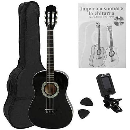 NAVARRA NV12PK Starter Set guitarra clásica 4/4 negro, bolsa/Gig Bag, libro con CD, afinador (tuner),2 púas