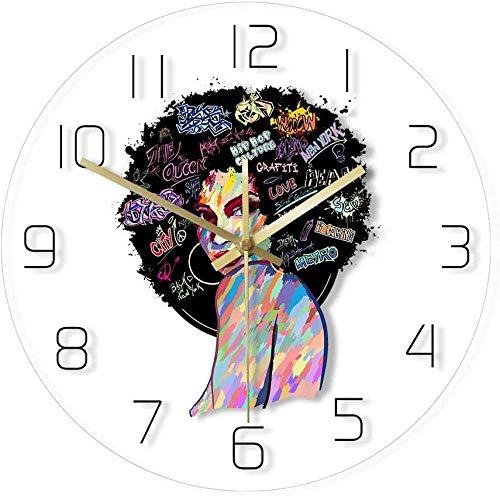 Reloj De Pared Reloj De Pared con Estampado De Pintura De Cara De Mujer Afroamericana, Arte Abstracto, Decoración del Hogar Contemporánea, Reloj De Pared De Cuarzo Silencioso Sin Tictac, 30X30Cm