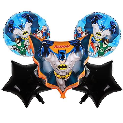 Batman Globos de papel de aluminio simyron 5 pcs Batman Party's Helium Balloons Decoraciones Cumpleaños de Fiesta para Niños Happy Birthday Party Supplies