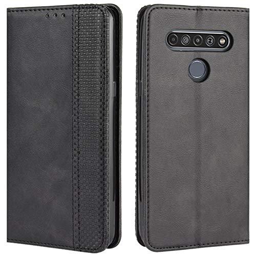 HualuBro Handyhülle für LG K51S Hülle, LG K41S Hülle, Retro Leder Stoßfest Klapphülle Schutzhülle Handytasche LederHülle Flip Case Cover für LG K51S Tasche, Schwarz