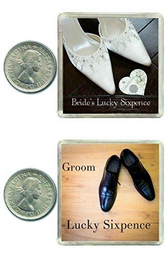Oaktree Gifts - Conjunto de 2 monedas de la suerte de 6 peniques para novios Regalo muy divertido para los novios que trae suerte