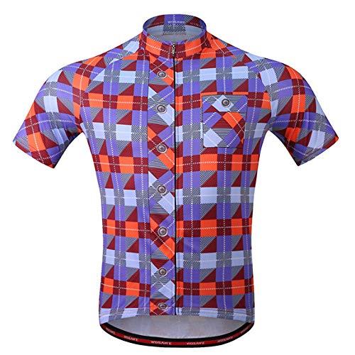 Herren-Radtrikot, Kurze Ärmel MTB-Mountainbike-Shirt mit Reflektor für Kanusport-Campingmotorräder,A,XXXL