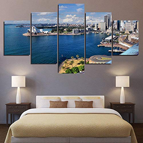 45Tdfc Canvas Picture Wall Art Print- 5 Piece Australia Sydney Beach palm trees Modern Wall Artwork For Living Room Bedroom Picture Set Completely Framed(200 × 100 Cm )