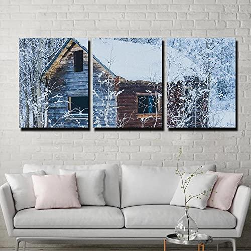 45Tdfc Painting Cuadro sobre Lienzo Imagen Cabina abandonada Nieve Blanca Invierno Pintura Canvas Wall Art con Seguridad Impresión de la Lona Dibujar para Sala Comedor Cocina Regalo 30×50cm-3