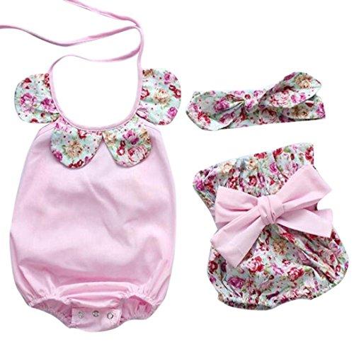 Koly Baby Sets Infante Appena Nato della neonata Floreale Pagliaccetto Tops + Bow dei Pantaloni di Bicchierini Outfits Vestiti regolati. (Size:12M, Pink)