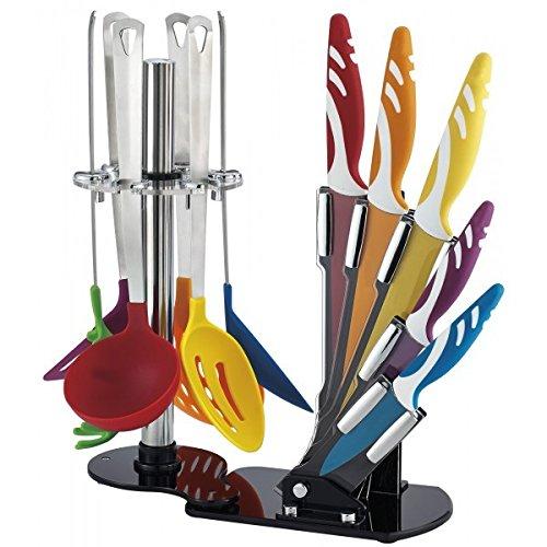 Set kit pack de 12 PCS de utensilios de cocina en goma rígida y cuchillos de cerámica + soporte apoyo mws1032: Amazon.es: Hogar