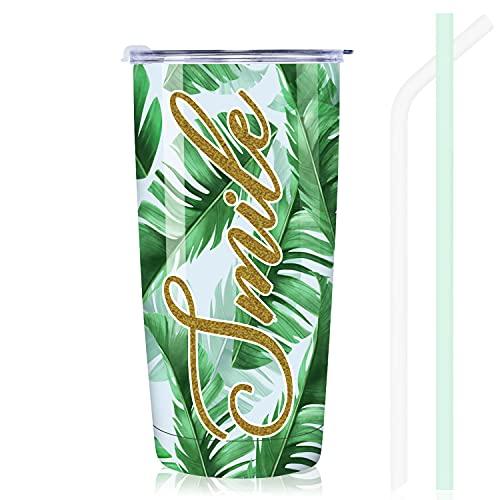 NymphFable 20oz Hojas de Banana Taza Termo Cafe para Llevar Taza Termica Acero Inoxidable Taza Personalizada
