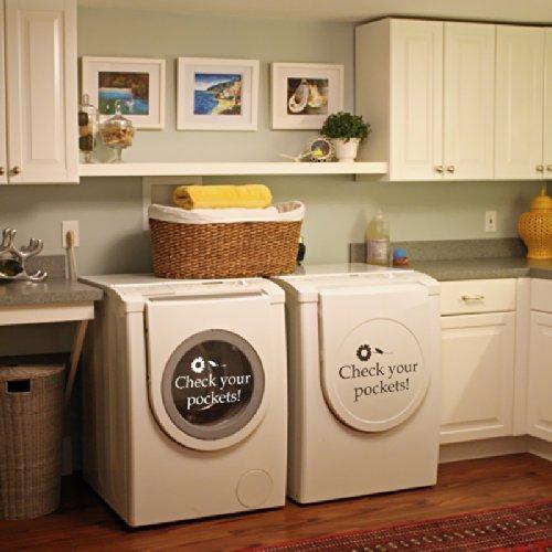 Ihre Taschen Überprüfen–VINYL Wand Aufkleber Aufkleber für Waschküche Waschmaschine D ¨ ¦ cor, Customized-colors, 11