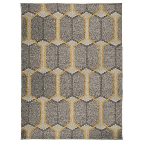 Flair Rugs Urban Trellis - Alfombras y Corredores geométricos Tradicionales, Color Gris y Ocre, Polipropileno, Grey/Ochre, 133 x 185 Cm