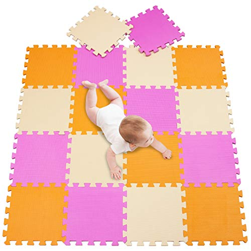 meiqicool Alfombra Puzzle para Niños Bebe Infantil, Espuma EVA Alfombra puzle 142 x 114 cm Niños Goma Espuma 18 Piezas Naranja Rosa y Beige 020310