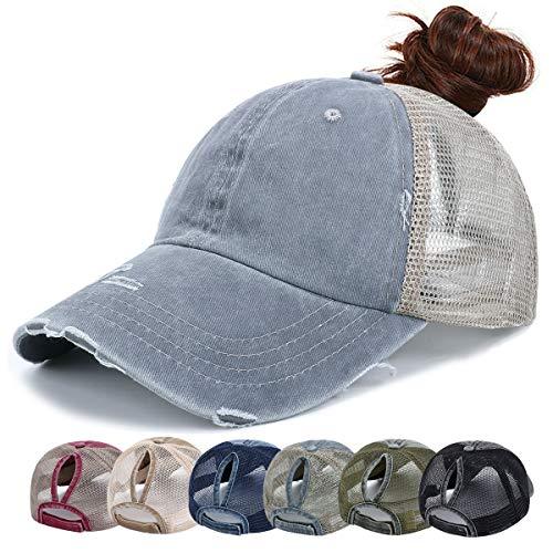 Damen Trucker Cap - Baseball Cap Mesh Baseballmütze Unisex Sommer Kappe Mesh Hüte Hip Hop Pferdeschwanz Caps Verstellbar Herren Sport Mütze (Grau)