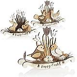 com-four® 3X Figure Decorative di Pasqua in Legno - Uccelli, Galline, Conigli, Uova e Fiori - Figure Decorative per Decorazioni pasquali - Figure in Legno (3X Pollo Uccello Coniglio - Bianco)