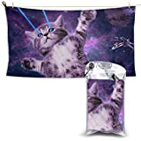 Badetuch, Beach Towels Space Taco Laser Cat Hand Towel Sheets Bath Linen Super Absorbent Blanket Outdoor Travel Extra Large Size Pool Swimsuits Covers Popular Bathroom Washcloths Yoga Mat for Foot