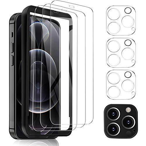 MSOVA para iPhone 12 Pro MAX Protector de Pantalla +Protector Cámara,Cristal Templado Alta Definición Resistente a Arañazos Protector Pantalla para iPhone 12 Pro MAX 6.7 Transparente(3 Piezas)
