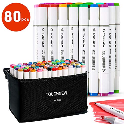 TOUCHNEW Marker Set 80 Farbige Stift Fettige,Graffiti Stifte Markers Sketch Graffiti Twin Tip Drawing Pens für Studenten Manga Kunstler Design Schule Drawing Art Supplies