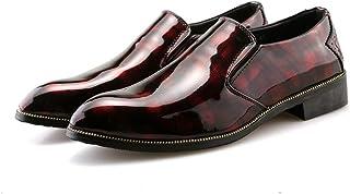 男士革靴 靴 男性 ビジネス オックスフォード カジュアル ファッション 個性 軽量 快適 パテントレザー 正式 シューズ 個性な (Color : 赤, サイズ : 25.5 CM)
