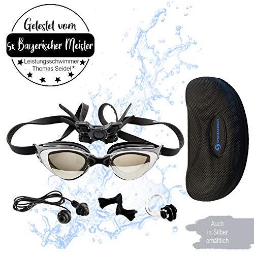 """Sportastisch Schwimmbrille """"ProSwim"""" mit auswechselbar Nasensteg (3 STK.) für Wasserdichten & individuellen, Bonus E-Book & bis zu 3 Jahren Garantie mit SPITZENSPORTLER EMPFEHLUNG*"""