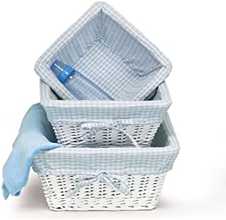 white wicker baskets with blue gingham lining