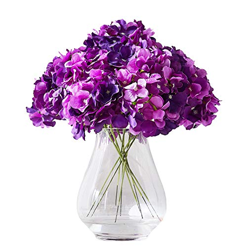 Kislohum Artificial Hydrangea Flower Heads 10 Dark Purple Hydrangea Silk Flowers Head for Wedding Centerpieces Bouquets DIY Floral Decor Home Decoration with Long Stems