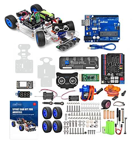 서보 파워 스티어링 모터 와이파이 블루투스 코드 프로그래밍 가능 ARDUINO UNO 호환 가능한 성인 청소년을위한 오스소 로봇 RC 스마트 자동차 DIY 키트