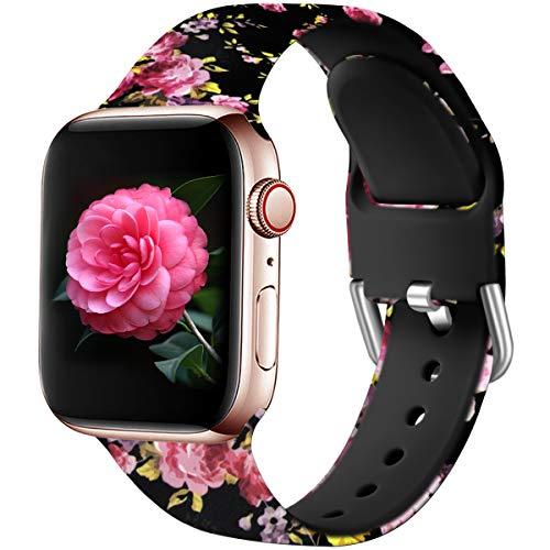 Wepro Kompatibel mit Apple Watch Armband 38mm 40mm, Weiches Silikon Muster Bedruckt Ersatz Armband für iWatch Series 5 4 3 2 1, 38mm/40mm-S/M, Rosa Blumen